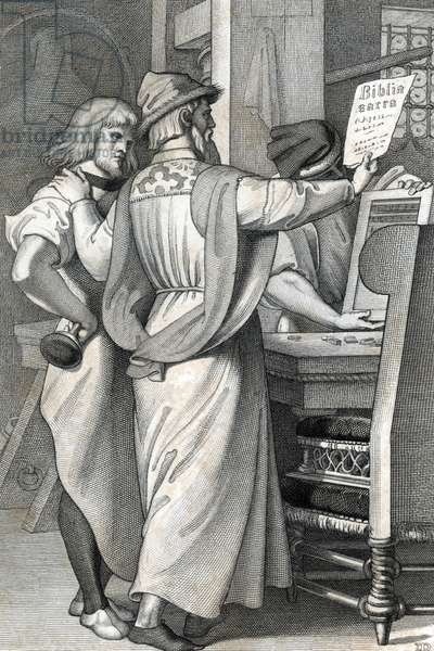"""History of printing: first test of the Bible printed by the press of Johannes Gensfleisch Gutenberg (1400-1468) represented with Johann Fust (1400-1466) - 1453 The first proof sheet from Gutenberg's press, 1453 Engraving from """"Allgemeine Geschichte"""" by Rotteck 1844 Private collection"""
