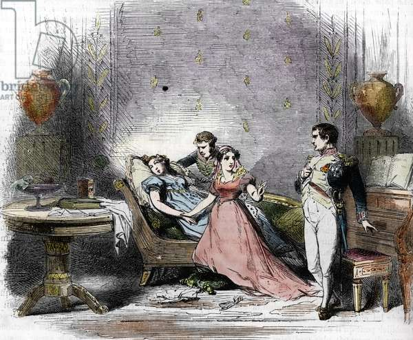 "Divorce of Napoleon I (1769-1821) and Impress Josephine (1763-1814), fainted by her children Eugene and Hortense, 16 December 1809 (The emperor Napoleon I announces to Josephine their divorce, she fainted and is supported by her son Eugene and her daughter Hortense, 16th December 1809) Engraving from """"History of France"" by Lahure, 1866 Private collection"
