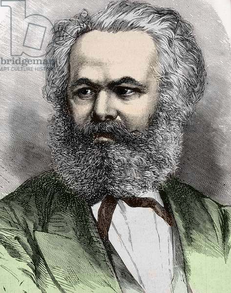 Portrait of Karl Marx (1818-1883), German philosopher and political theorist portrait of Karl (Carl or Carlo) Marx German historian, economist and revolutionary - Private collection