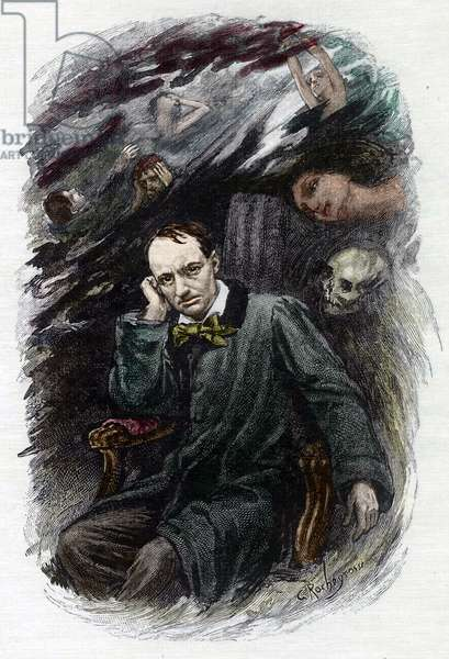 "Portrait of the French poet Charles Baudelaire (1827-1861) surrounds his ghosts (Representation of french romantic poet Charles Baudelaire surrounded by ghosts, illustration for """" The flowers of evil"""") Illustration by Georges Antoine Rochegrosse (1859-1938) for """" les fleurs du mal"" 1917 Collection privee"