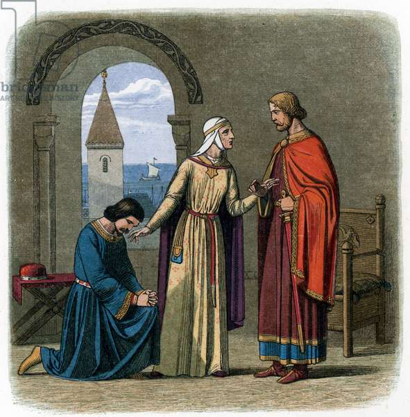 """On the advice of his mother, Eleanor of Aquitaine, King Richard I (1157-1199) pardons his brother, John Lackland for rebelling against him in Barfleur, Normandy, 1194  Illustration from """""""" A Chronicle-of-England"""""""" by James Doyle, 1864 Private collection"""