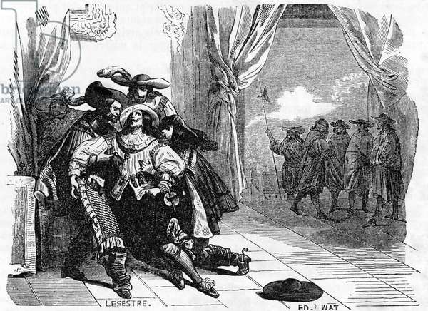 L'assassinat de George Villiers Ier duc de Buckingham (1592-1628) par  le fanatique John Felton en 1628 (Assassination of George Villiers, 1st Duke of Buckingham on 23 august 1628 by John Felton, an army officer) Engraving from