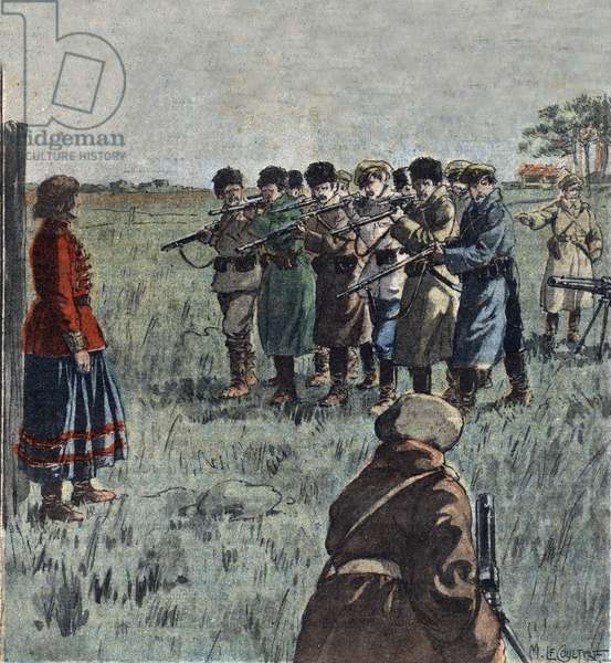 Execution of the Ukrainian Anarchist, Marie Nikiforova, by Soviet Soldiers, illustration from 'Le Pelerin', 1921 (colour litho)