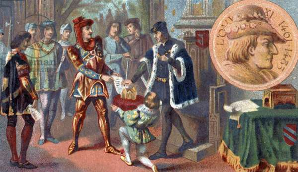 History of France in the Middle Ages: Peronne's interview between 9 and 14 October 1468 between the King of France Louis XI said the Prudent (1423-1483) and Charles the Temeraire (1433-1477). End of the 19th century (chromolithograph)