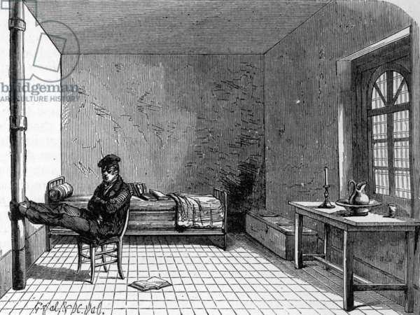 View of a cell from the Jail des Beans (or hotel des beans) in Paris (engraving)