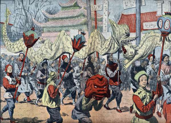 "Celebration of the chinese New Year, China (Celebration of the chinese New Year) Illustration from """" Le pelerin"""" january 1921 Private collection"