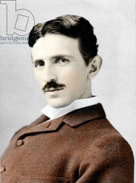Portrait of Nikola (Nikolaj) Tesla (1857-1943). Electrician engineer and physicist Croatian naturalise American Photography by Napoleon Sarony (1821-1896) ca. 1893 Private collection
