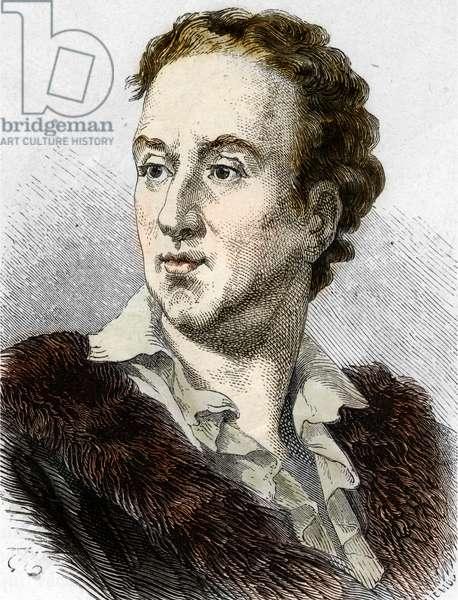 Portrait of the French writer and philosopher Denis Diderot (1713-1784) (Portrait of english philosopher Denis Diderot) Engraving Private collection