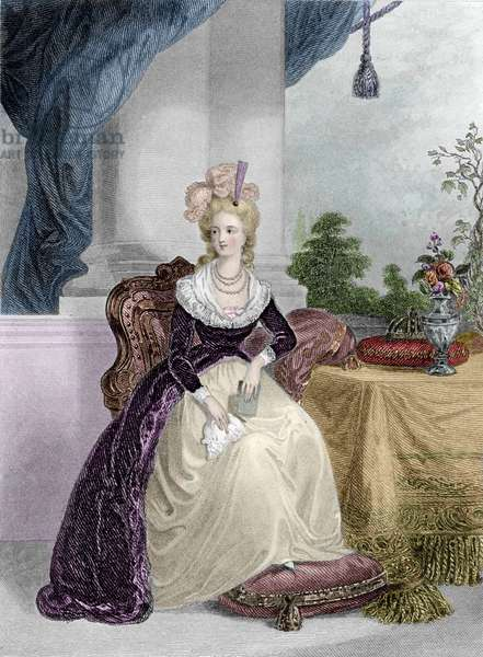 Portrait of the Queen of France Marie-Antoinette (1755-1793) - Engraving of the 19th century - Portrait of Marie Antoinette, Queen of France - Engraving 19th century - Private collection