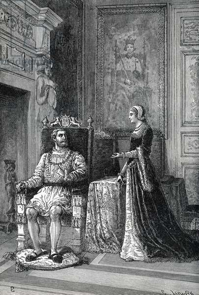 "Queen Catherine Parr (1512-1548) discussing theology with King Henry VIII (1491-1547) 1543-1547 (King Henry VIII and Queen Catherine Parr talking about religion) Engraving from ""History of the world"" by Ridpath 1885 Private collection"