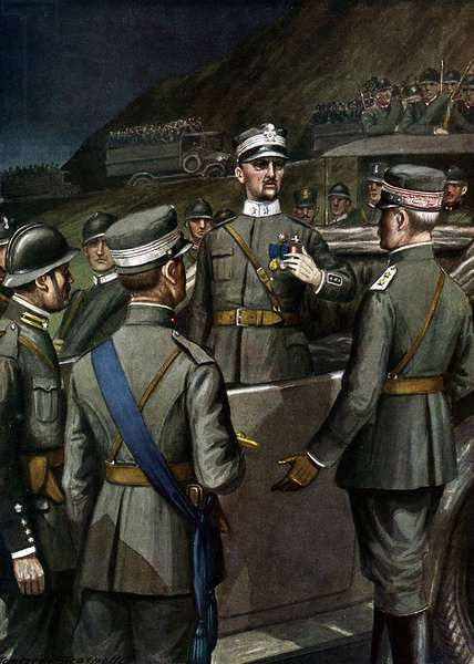 "Capture of the town of Rijeka (Fiume) by Gabriele d'Annunzio (1863-1938) during the march of Ronchi on 12/09/1919, General Pittaluga tries to interrupt the column of walking (Impresa di Fiume and march from Ronchi dei Legionari, 12th September 1919) Illustration of Tancredi Scarpelli (1866-1937) from """"Storia d'Italia"""" (History of Italy) by Paolo Giudici, 1930 Private Collection"