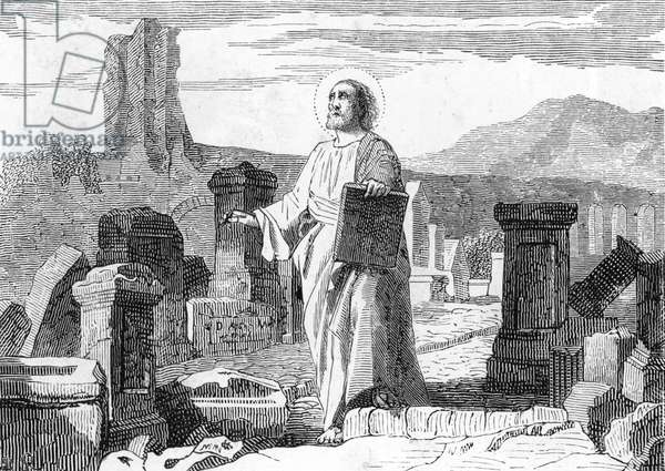 Representation of Hegesippe of Jerusalem (115-180) Christian writer (portrait of Saint Hegesippus christian chronicler) Engraving 19th century Private collection