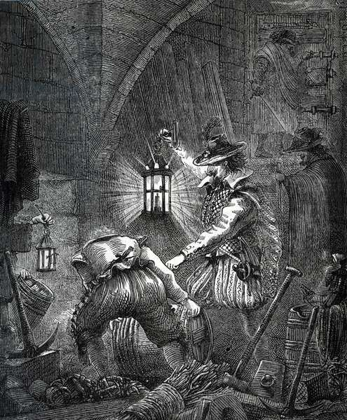 """Gunpowder Plot: Conspiracy of Catholics (Guy Fawkes (Guido Falxius, known as John Johnson, English Catholic, 1570-1606)) formed to assassinate King James I, his family and some of the aristocracy by exploding the Palace of Westminster (London) at the opening ceremony of the Parliament 5 November 1605 - Engraving from """"History of the world"""" Private collection"""