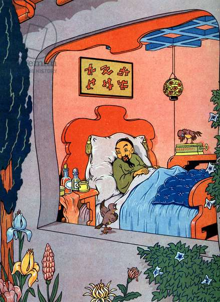 """The Nightingale and the emperor of China Illustration by Evariste for """"The Nightingale and the emperor of China"""" in """"The Nightingale and the emperor of China"""" by Hans Christian Andersen, about 1950 Private Collection"""