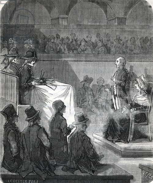 """Marie Antoinette of Austria (1755-93) Judged by the Revolutionary Tribunal Court, 16th October 1793 - French Revolution: Queen of France Marie-Antoinette, before the judges, in her trial on 14 October 1793 - Judgment of Marie Antoinette of Austria at the Revolutionary Court Engraving from """"Memorials of Sanson"""""""" 19th century Private Collection"""