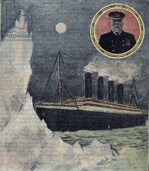 "One of """" Le pelerin"""" announcing the sinking of the transatlantic liner Titanic with portrait of Captain Smith on April 14, 1912"" (Cover page of english newspaper """" Le pelerin"""" about Titanic shipwreck, April 1912) Private collection"