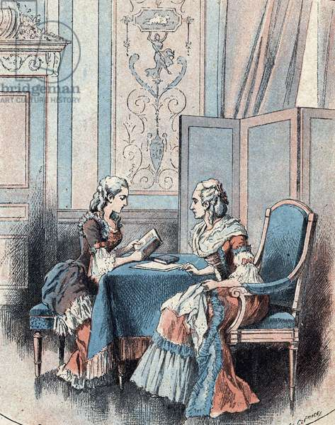 Portrait of the French educator Jeanne Louise Henriette Campan (1752-1822) with the Queen of France Marie Antoinette - (Portrait of Jeanne-Louise-Henriette Campan, French educator and lady-in-waiting to Queen Marie Antoinette) Etienne Charavay (1848-1899), illustrated by Charles Clerice (1865-1922) 12) 1900 Collection private