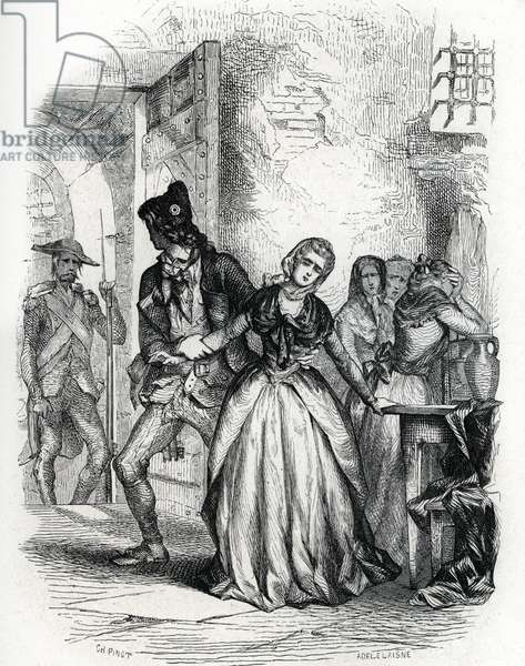 Departure for the scaffold of Madame Dubarry (Countess Jeanne du Barry ou Becu, 1743-1793) in 1793 - (engraving) 1846