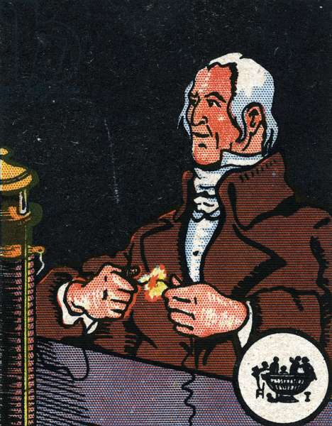 Portrait of Alessandro Volta (1745-1827) inventor of the first electric battery (Portrait of italian physicist Alessandro Volta credited as the inventor of the electrical battery and the discoverer of methane) Chromolithography of the beginning of the 20th century Private collection
