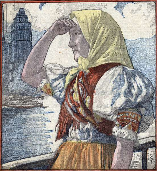 """History of immigration in America: a young immigrant woman arrived in Ellis Island looking New York in the distance Illustration from """""""" Le Pelerin"""""""" 15th april 1934 Private collection"""