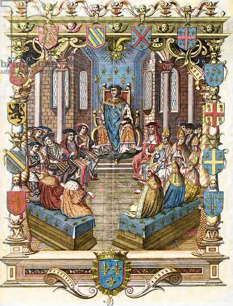 """Representation of the trial of Charles III of Bourbon, connetable of France (1490-1527) in 1524 presided by King Francois I in the Chamber of Peers (Trial of Charles III, Duke of Bourbon presided over by king of France Francis I, 1524) Engraving from """"Museum-Criminal"""" by Henri Varennes and Edgar Troimaux, late 19th century Private Collection"""