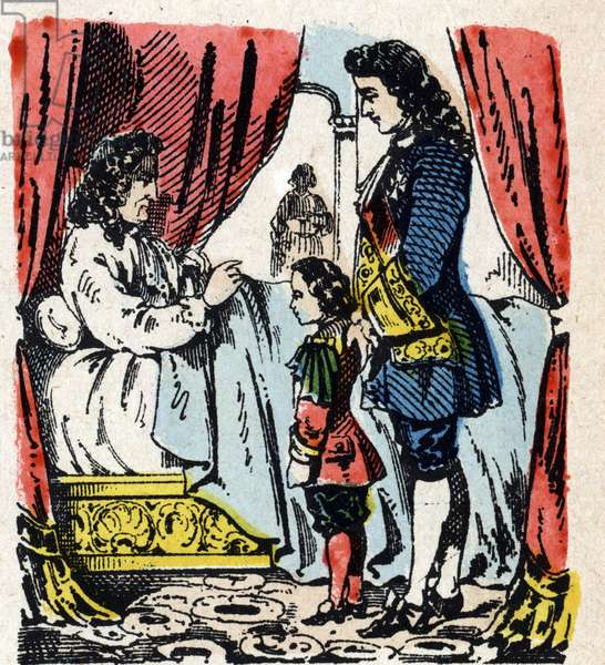 Death of Louis XIV at Versailles, September 1, 1715, Louis xv as a child standing by his deathbed) Death of the King of France Louis XIV (Duke of Anjou, future Louis XV, bid farewell to Louis XIV said the Sun King (King Sun or Louis the Great, 1638-1715) Image of Epinal 19th century Private Collection