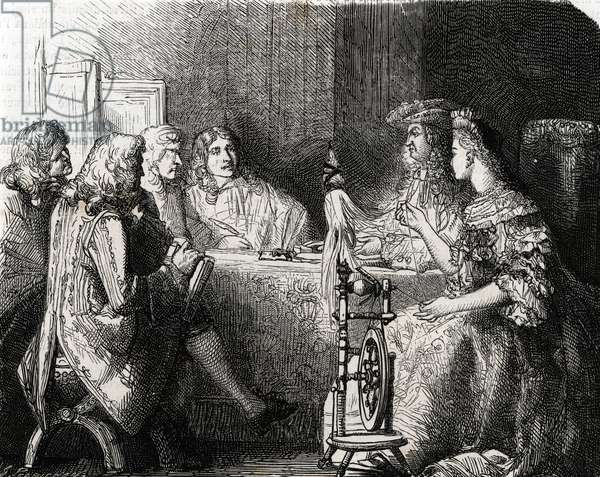 Francoise d'Aubigne, Marquise de Maintenon political influence during the political meeting of king Louis XIV, beginning of the 18th century (engraving)