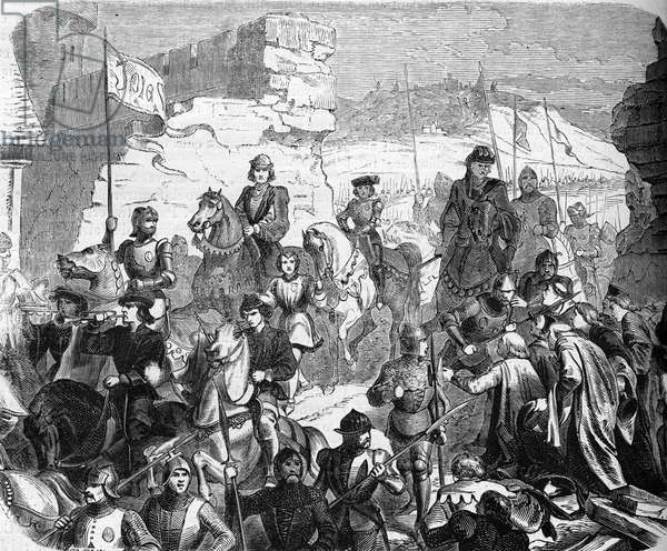 """Hundred Years War: King Charles VI victorious of the Flemish at the Battle of Roosebeke (or Mont-d'Or) returns to Paris on 11/01/1383 and submits the Parisians (In january 1383, King Charles VI of France, victorious of the Flemish men in the battle of Roosebeke, made knock down a part of a wall to enter Paris by the breach) Engraving tiree by """""""" History-Populaire-de-France"""" by Lahure, 1866 Collection privee"""