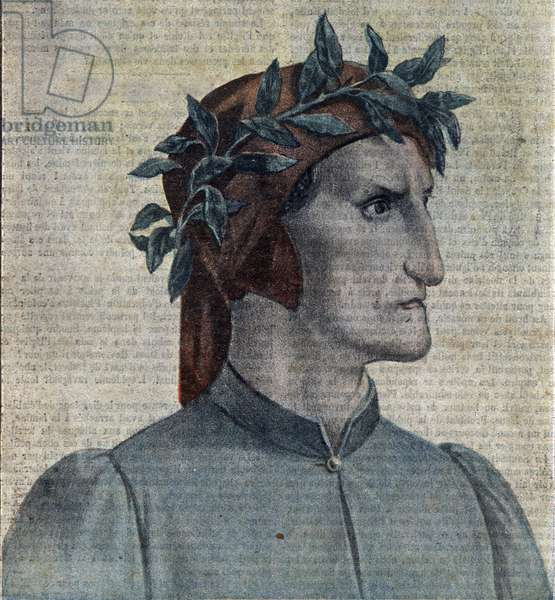 "Portrait of the Italian poet Dante Alighieri (1265-1321) (Italian poet Dante Alighieri) Illustration from """" Le pelerin"""" may 1921 Private collection"