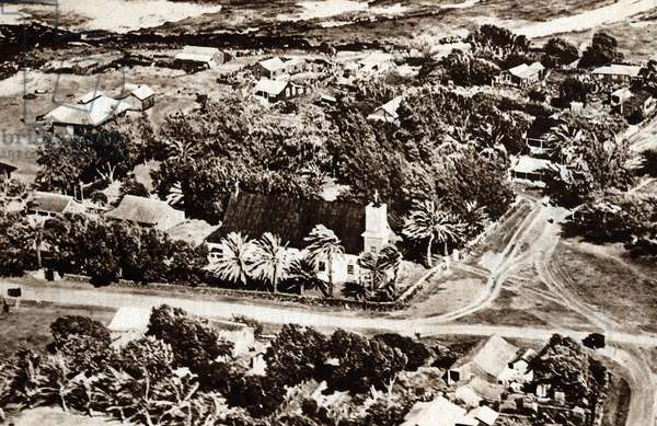 """View of the leper colony founded by Father Damien in Kalawao, island of Molokai, Hawaii) From """""""" Le patriote illustrious"""""""" Private collection"""