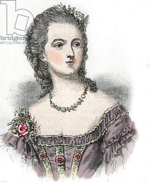 "Portrait of the Countess Jeanne (Becu) du Barry (Madame Du Barry) (1743-1793) courtesan and mistress of Louis XV (Portrait of Countess Jeanne (Becu) du Barry (Madame du Barry) (1743-1793), courtesan and mistress of Louis XV) Engraving from ""Histoire de la Bastille Privé"" by Maquet Collection ee"
