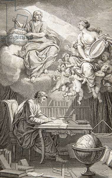 """The philosopher Voltaire writing in his office, above him Isaac Newton (1642-1727) and near him Gabrielle Emilie de Breteuil, Marquise (Madame) du Chatelet (1706-1749) Marquise Le Tonnelier of Breteuil, woman of letters and master of Voltaire Frontispice of """"Elements de la philosophie de Newton"""" by Voltaire (1694-1794-1778), 1738 (Frontispiece of 'Elemens de Philosophy de Neuton 'by Voltaire (1694-1778) representing Voltaire writing at his desk below Isaac Newton (1642-1727) and the authors' lover and collaborator, Madame du Chatelet as Minerva) Engraving Collection privee"""