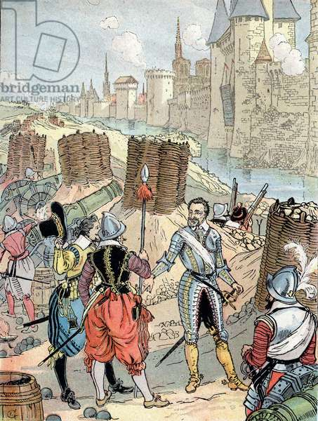 "War of Religions: """" King Henry IV during the siege of Paris in August 1590"""" King Henry IV (1553-1610) near Paris during the siege of the city in 1590 (French wars of religion: french Royal Army under Henry of Navarre, and supported by the Huguenots, besieging the city of Paris, trying to capture it from the Catholic League, 1590) Illustration tiree """" My -History-de-France"" by HS Bres, 1894 Private collection"