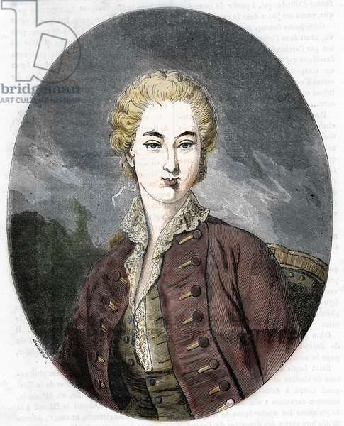 "Portrait of Jeanne Becu, Countess (or Madame) du Barry (1743-1793) (Portrait of Jeanne Becu, Comtesse du Barry last Master-en-Titre of Louis XV of France) Engraving from ""L'alcove des queines"" by Beaujoint 19th century Private Collection"
