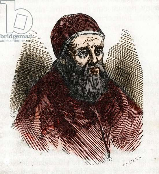 "Portrait of Pope Jules II (Giuliano della Rovere) (1443-1513), nicknamed the iron pope or the terrible pope (Julius II (1443-1513), nicknamed """" The Fearsome Pope"""" and """" The Warrior Pope"""", Pope from 1503 to 1513) Drawing from ""Misteri del Vaticano"" by Franco Mistrali Private Collection"