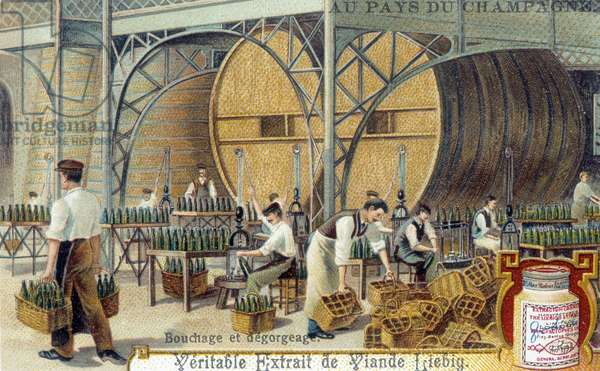 French speciality: the corking and degorging (degorgement) of bottles of Champagne wine (method of vinification) (French champagne wine production: plugging and disgorging) Chromolithography of the end of the 19th century Private collection