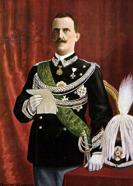"Portrait of the King of Italy Victor Emmanuel (Victor-Emmanuel) III (1869-1947) during the reading of the coronation speech in August 1900 (King Vittorio-Emanuele (Vittorio Emanuele) III reading his coronation speech, August 1900) Illustration of Tancredi Scarpelli (1866-1937) from """" Storia d'Italia"" (History) Paolo Giudici, 1930 Private Collection"