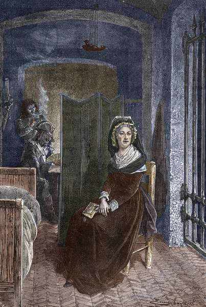 La reine de France Marie Antoinette (1755-1793) enclosed at the Concierge in Paris in 1793 Engraving - Portrait of queen of France Marie-Antoinette during her stay in the Concierge prison in Paris - Engraving - Private collection