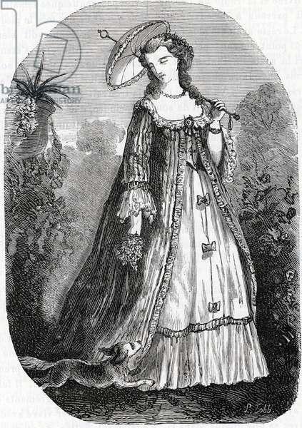 Portrait of Jeanne Antoinette Poisson, Marquise de Pompadour (dit Madame de Pompadour, 1722-1764) Engraving of the 19th century Private collection