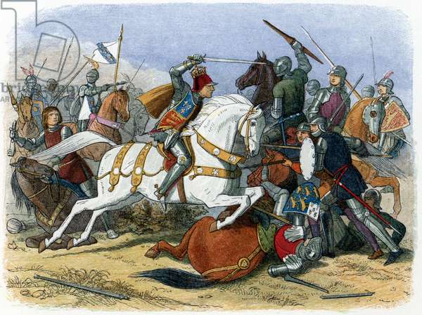 """War of the Two Roses: View of the Battle of Bosworth Field which between 22/08/1485 Richard III (1452-1485) (on the white horse) and Henri VII dit Henri Tudor (1457-1509) (War of the roses: Battle of Bosworth Field, 22 August 1485, Richard III (1452-1485), last Yorkist king of England from 1483, on a white horse - Richard was killed on the battlefield and the crown passed to the Lancastrian champion, Henry Tudor (1457-1509) who, as Henry VII, became the first Tudor monarch of England - Bosworth was the decisive battle in the Wars of the Roses (1455-1487), the struggle between the houses of York and Lancaster for the throne of England) Illustration from """""""" A Chronicle-of-England"""" by James Doyle, 1864 Private collection"""