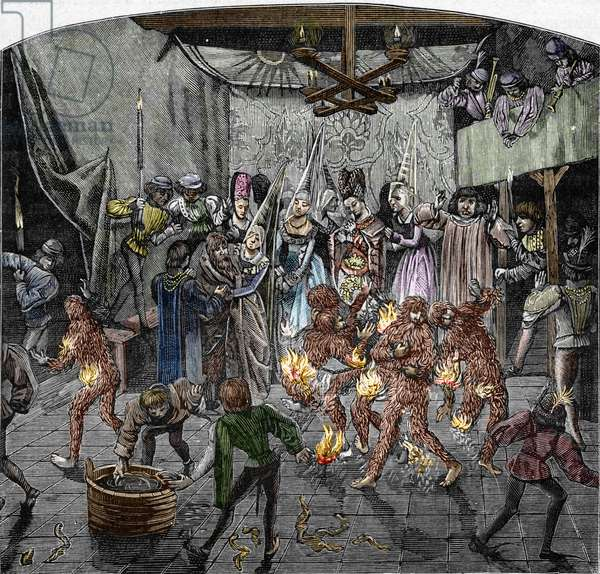 """On the occasion of the wedding of a lady of Isabeau (Isabelle, Elisabeth) of Baviere, on January 28, 1393, King Charles VI of France disguised himself and chained himself to four other courtiers - His brother, the Duke of Orleans, to recognize them, approached a torch and set fire to their costumes - The king was just so that one of the four other gentlemen, who threw himself in a basin of water - Engraving after """""""" Les chronicles"""""""" by Jean Froissart -19th century - King Charles VI of France and his knights masquerade as savages (Ball of the Burning Men) on 28 January 1393 in Paris at which Charles VI of France performed in a dance with five members of the French nobility - After """""""" Froissart's Chronicles"""""""" Private collection"""