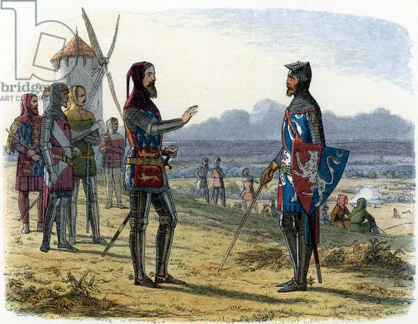 """Hundred years war: King Edward III refuses to help his son Edward Plantagenet (Edward of Woodstock Brackembury, 1330-1376), called the Black Prince during the Battle of Crecy (August 1346), who opposed them to France (Hundred years war: during the battle of Crecy, Edward III (1312-1377) refused to assist his 16 year old son, Edward, the Black Prince, who commanded one of the three divisions of the English army, instead sending words of encouragement with Sir Thomas Norwich for the boy to win his spurs, august 1346) Illustration from """""""" A Chronicle-of-England"""""""" by James Doyle, 1864 Private collection"""