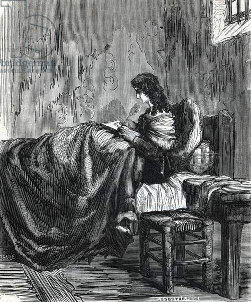 "Queen Marie Antoinette of Austria (1755-1793) in her prison in 1793 (Queen of France Marie Antoinette in her prison, 1793) Engraving from ""Memoires de Sanson"""" 19th century Private collection"