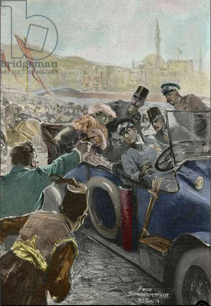 Assassination of Franz Ferdinand (1863-1914) Archduke of Austria, and his wife Sophie, in Sarajevo, Bosnia, 28 June 1914 Attack of Sarajevo: assassination of Archduke Francois Ferdinand of Austria (Francois-Ferdinand, 1863-1914) and his wife Sophie de Hohenberg (1901-1990), 28 June 1914 by a Serbian Illustration by Felix Schwormstadt (Schwormstaedt) (1870 -1938), 30/06/1914 Private collection