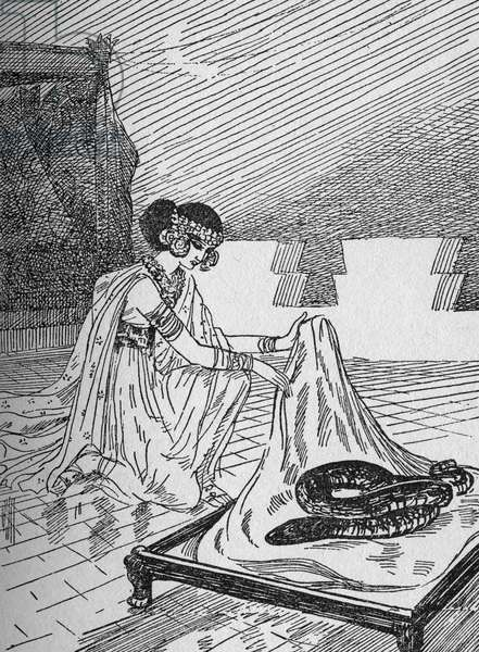 """Salammbo and the sick snake Illustration by Jacques Touchet (1887-1949) of """""""" Salammbo"""""""""""" novel by Gustave Flaubert taking as frame the war of mercenaries at the time of the First Punic War (246-241 BC) between the Romans and the Carthaginians - """""""" Salammbo and the sick snake"""" Illustration of Jacques Touchet (1887-1949) for """""""" """"Gustave"""" Flauster's novel depicting the war mercenaries at the time of the first Punic War (246-241 BC) between the Romans and the Carthaginians Private Collection -"""
