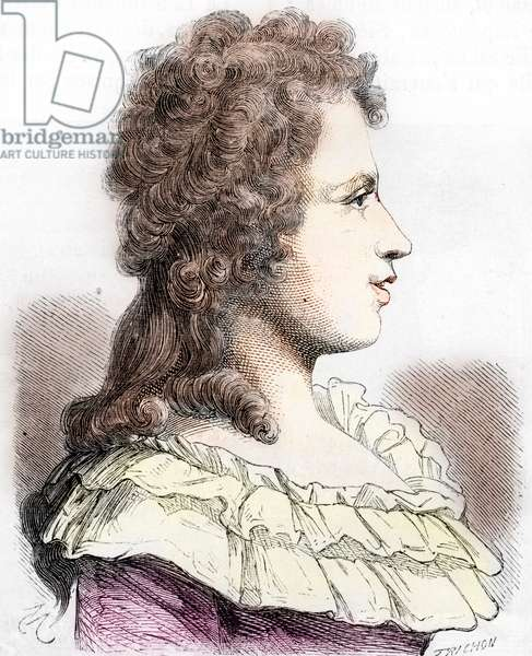 """Portrait of Germaine Necker, Baroness of Stael Holstein called Madame de Stael (1766-1817) - Madame de Stael (Anne-Louise-Germaine Necker) Baroness by Stael-Holstein, (1766-1817) Engraving from """"History-Populaire-de-France"""" by Lahure, 1866 Private collection"""