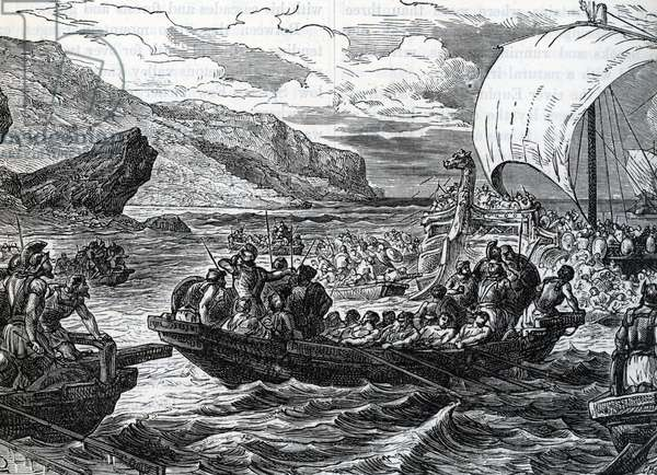 """Phoenician fleets in the mediterranean sea Engraving from """"History of the world"""" by Ridpath 1885 Private collection"""