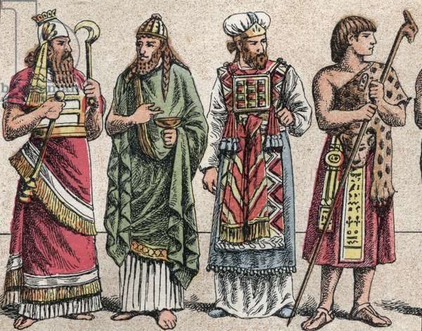 Religious costumes in the ancient times (colour litho)