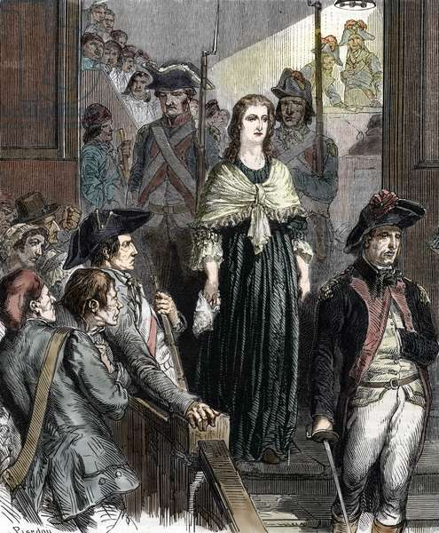 """Queen Marie Antoinette (1755-1793) sentenced by the revolutionary court in October 1793 (Queen of France Marie-Antoinette (1755-1793) during her trial at the revolutionary court, october 1793) Engraving from """""""" Histoire-de-France"""""""" by Lahure, 1866 Private collection"""