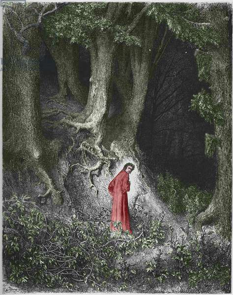 """First song of Hell: the poet Dante finds himself in a forest. Illustration of the """""""" Divine Comedie"""""""" (Divina Commedia) by Dante Alighieri (1265-1321). Engraving by Gustave Dore, (1832-1883) 1852"""